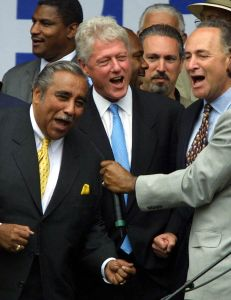 Former President Bill Clinton with Congressman Charles Rangel and Sen. Charles Schumer.