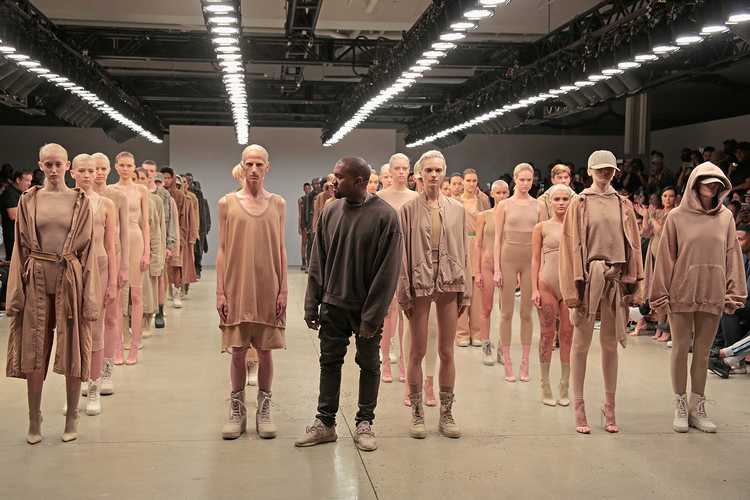 NEW YORK, NY - SEPTEMBER 16: Kanye West poses during the finale of Yeezy Season 2 during New York Fashion Week at Skylight Modern on September 16, 2015 in New York City. (Photo by Randy Brooke/Getty Images for Kanye West Yeezy)