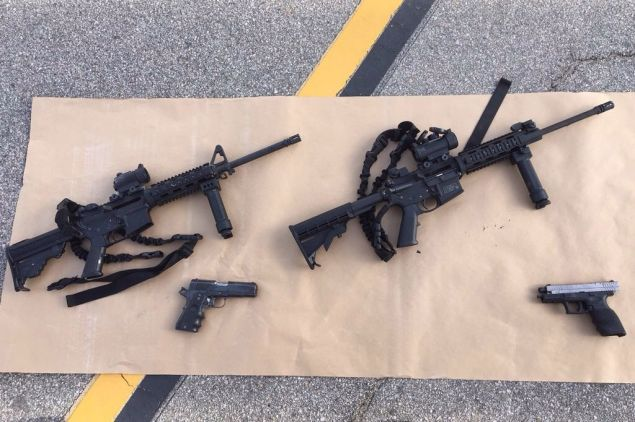SAN BERNARDINO, CA - DECEMBER 4: (EDITORS NOTE: Best quality available) In this handout photo provided by the San Bernardino County Sherrif's Department, four guns are seen near the site of a shootout between police and suspects in the San Bernardino shootings, December 4, 2015 in San Bernardino, California. Police continue to investigate a mass shooting at the Inland Regional Center in San Bernardino that left at least 14 people dead and another 17 injured on December 2nd. (Photo by San Bernardino County Sherrif's Department via Getty Images)