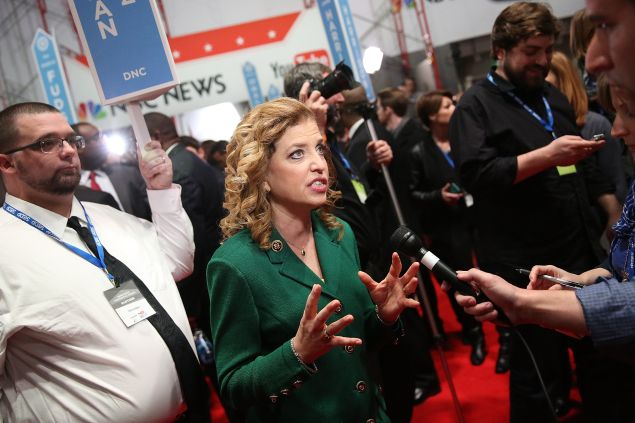 U.S. Representative Debbie Wasserman Schultz and chair of the Democratic National Committee (DNC) speaks to reporters in the spin room after watching tonight's democratic presidential debate at the Gaillard Center on January 17 in Charleston, South Carolina. (Photo: Andrew Burton/Getty Images)