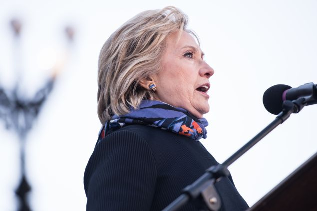 COLUMBIA, SC - JANUARY 18, 2016: Democratic presidential candidate Hillary Clinton speaks to the crowd during the King Day at the Dome rally at the S.C. State House January 18, 2016 in Columbia, South Carolina. The event drew appearances from Democratic presidential candidates Sen. Bernie Sanders, I-Vt, former Maryland Gov. Martin O'Malley and Hillary Clinton. (Photo by Sean Rayford/Getty Images)