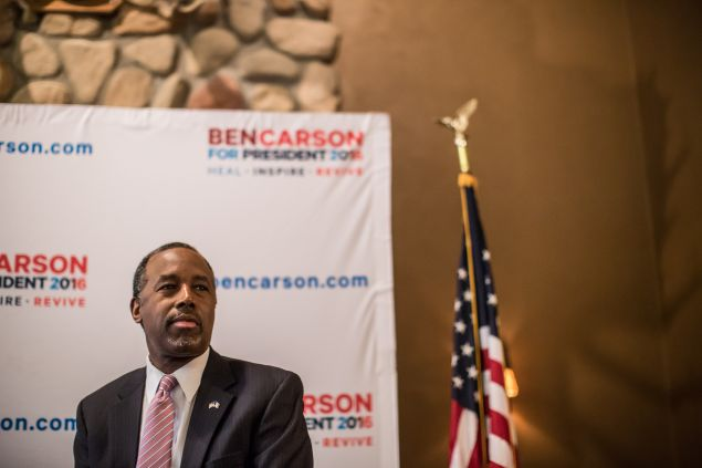 MANCHESTER, IA - JANUARY 31: Republican presidential candidate Ben Carson speaks at a campaign event at Fireside Pub and Steak House on January 31, 2016 in Manchester, Iowa. The Democratic and Republican Iowa Caucuses, the first step in nominating a presidential candidate from each party, will take place on February 1. (Photo by Brendan Hoffman/Getty Images) *** Local Caption *** Ben Carson