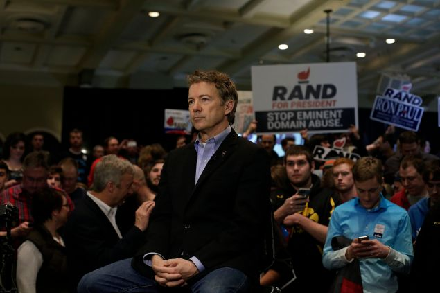 IOWA CITY, IA - JANUARY 31 : Republican presidential candidate, U.S. Sen. Rand Paul (R-KY) waits to do a television interview during a campaign event at the University of Iowa Memorial Union January 31, 2016 in Iowa City, Iowa. The Iowa caucuses kick off the presidential selection process tomorrow. (Photo by Joshua Lott/Getty Images)