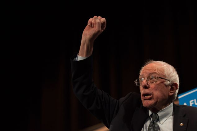 CLAREMONT, NH - FEBRUARY 02: Democratic presidential candidate Sen. Bernie Sanders (I-VT) gestures to the crowd after speaking at the Claremont Opera House on February 2, 2016 in Claremont, New Hampshire. The New Hampshire primary is February 9. (Photo by Matthew Cavanaugh/Getty Images)