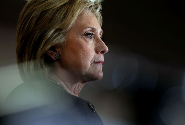 Democratic presidential candidate Hillary Clinton looks on during an event at Derry Boys and Girls Club on February 3 in Derry, N.H.