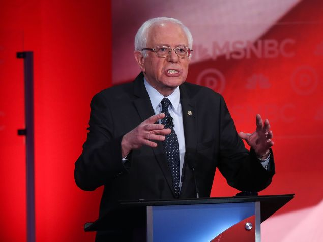 DURHAM, NH - FEBRUARY 04: U.S. Sen. Bernie Sanders (I-VT) speaks as he debates with Democratic presidential candidates former Secretary of State Hillary Clinton during their MSNBC Democratic Candidates Debate at the University of New Hampshire on February 4, 2016 in Durham, New Hampshire. This is the final debate for the Democratic candidates before the New Hampshire primaries. (Photo by Justin Sullivan/Getty Images)