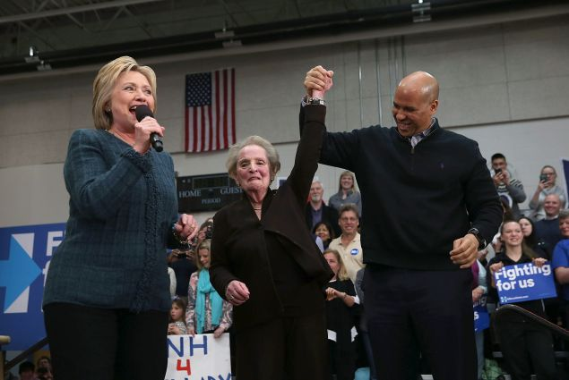 Hillary Clinton campaigns with former Secretary of State Madeleine Albright. (Photo by Justin Sullivan/Getty Images)