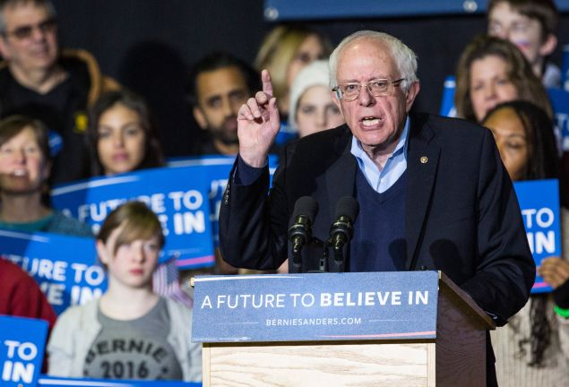 NASHUA, NH - FEBRUARY 08: Democratic presidential hopeful Sen. Bernie Sanders (D-VT) speaks at a campaign rally at Daniel Webster College on February 8, 2016 in Nashua, New Hampshire. Sanders is hoping to win the New Hampshire democratic primary tomorrow. (Photo by Andrew Burton/Getty Images)