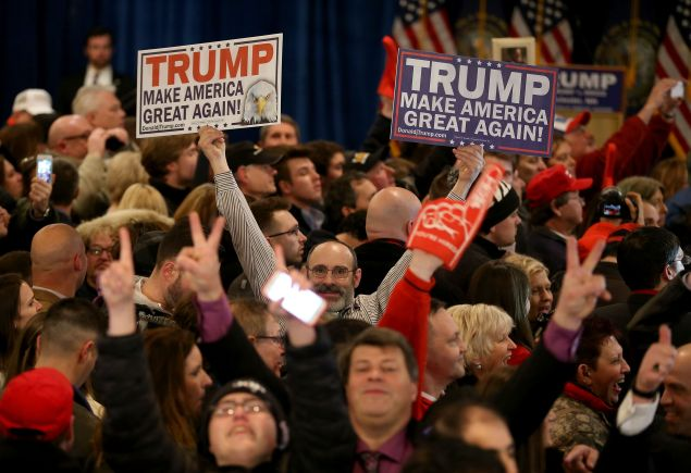 Trump supporters at his victory part in New Hampshire. (Photo: Joe Raedle for Getty Images)