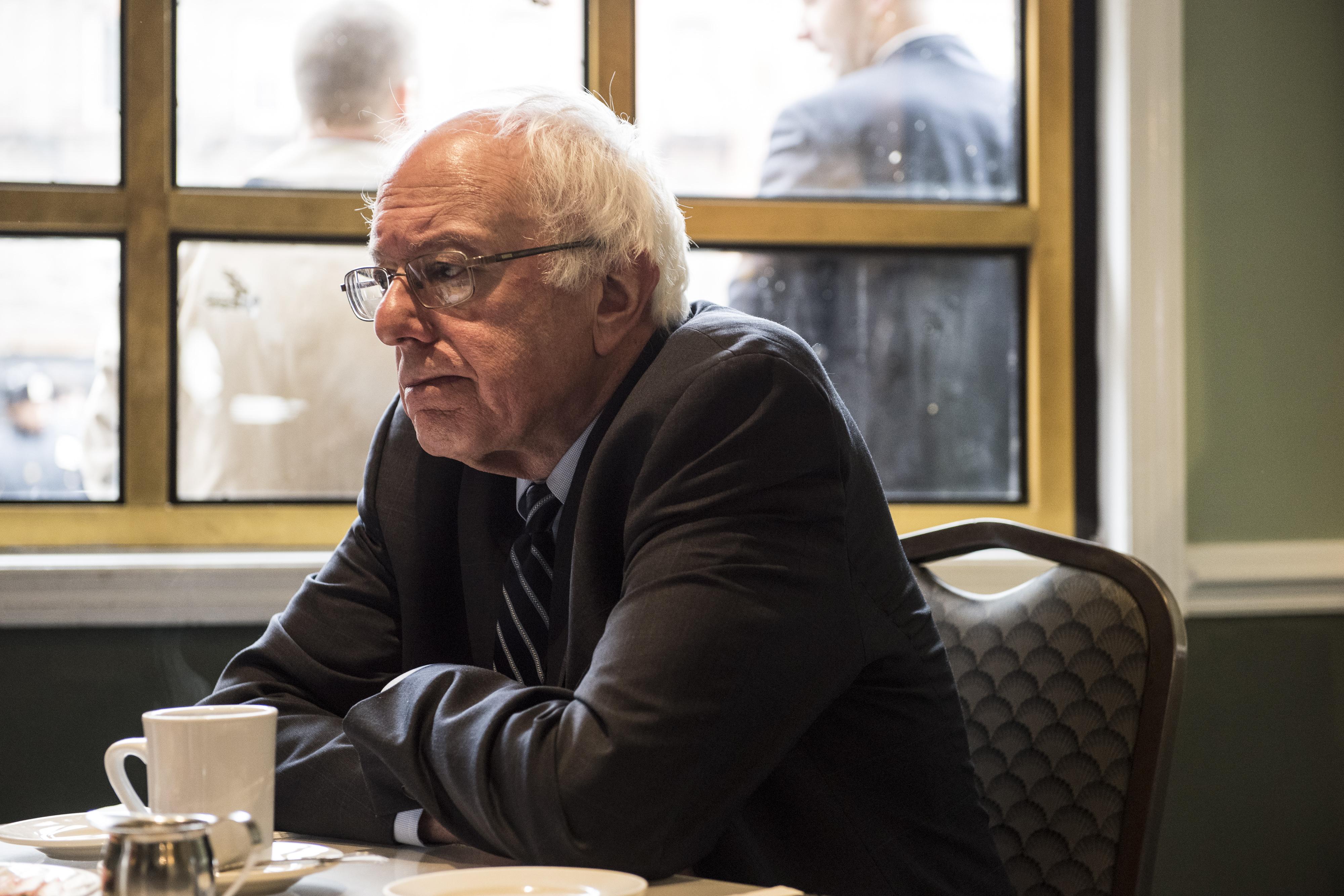 Sen. Bernie Sanders at Sylvia's Soul Food restaurant in Harlem.