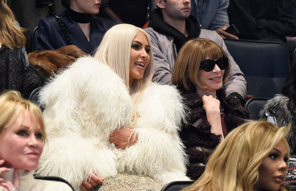 Kim Kardashian West, Anna Wintour (Photo by Kevin Mazur/Getty Images for Yeezy Season 3).