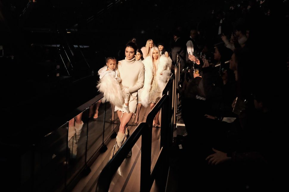 North West, Kendall Jenner, Kourtney Kardashian, Kim Kardashian, Khloe Kardashian and Kylie Jenner (Photo by Dimitrios Kambouris/Getty Images for Yeezy Season 3).