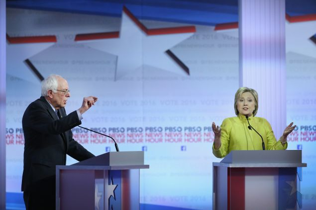 Democratic presidential candidates Sen. Bernie Sanders and Hillary Clinton during the PBS NewsHour debate on February 11 in Milwaukee, Wisconsin.