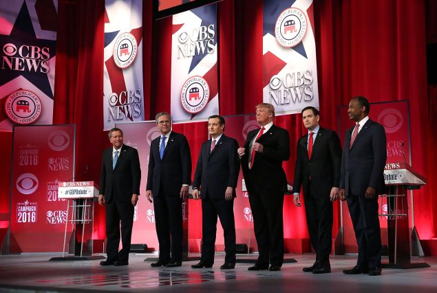 Marco Rubio (second from right) with other Republican presidential candidates at a debate in Greenville, S.C.