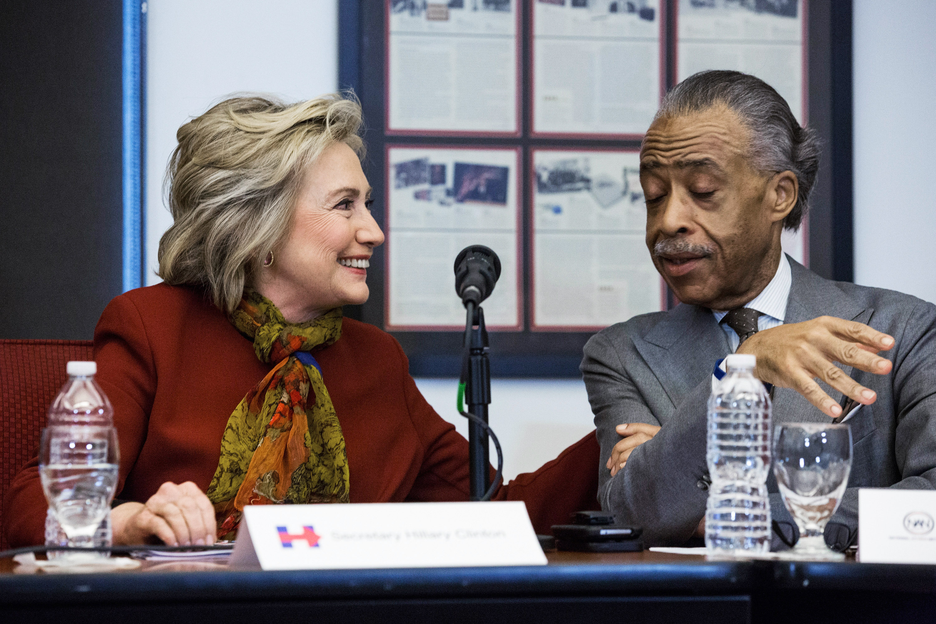 Secretary of State Hillary Clinton and Rev. Al Sharpton today.