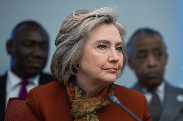 Democratic presidential hopeful and former U.S. Secretary of State Hillary Clinton meets with civil rights leaders at The National Urban League on February 16 in New York City.