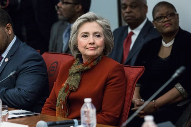 Hillary Clinton meeting with African-American leaders in Manhattan today.