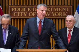 Senator Charles Schumer Mayor Bill de Blasio and Police Department of New York Commissioner Bill Bratton hold a press conference criticizing the White House's proposed budget for 2017,