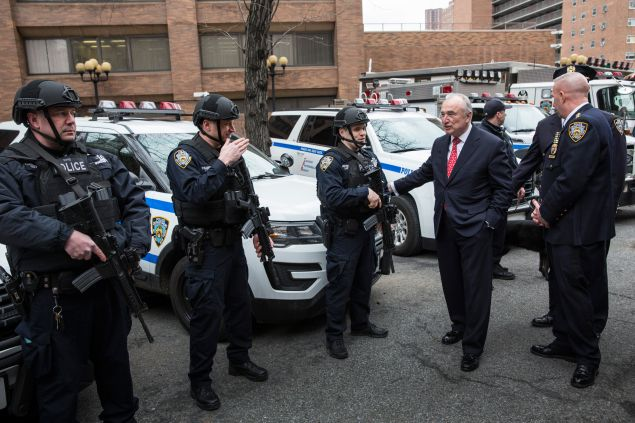 New York Police Department (NYPD) Commissioner Bill Bratton reviews select NYPD units funded in part through the Urban Area Security Initiative grant, which is funded through the Department of Homeland Security, after holding a press conference with Sen. Charles Schumer (D-NY) and New York City Mayor Bill de Blasio criticizing the White House's proposed budget for 2017, which cuts counterterrorism funding by nearly $300 million on February 17, 2016 in New York City.