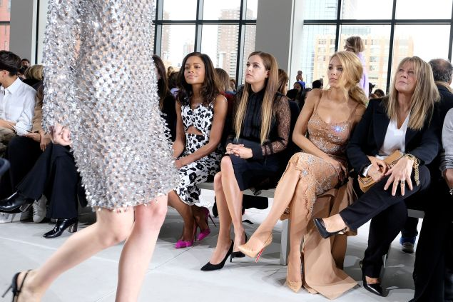 Naomie Harris, Riley Keough, Blake Lively, and Elaine Lively check out a sparkly Michael Kors dress