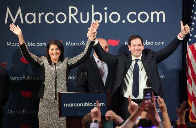 Sen. Marco Rubio with South Carolina Gov. Nikki Haley.