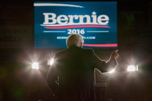 Democratic presidential candidate, Sen. Bernie Sanders speaks at a rally on February 22, 2016 at the University of Massachusetts in Amherst, Massachusetts. Sanders is campaigning in the lead up to Super Tuesday primaries on March 1 when 11 states will vote.