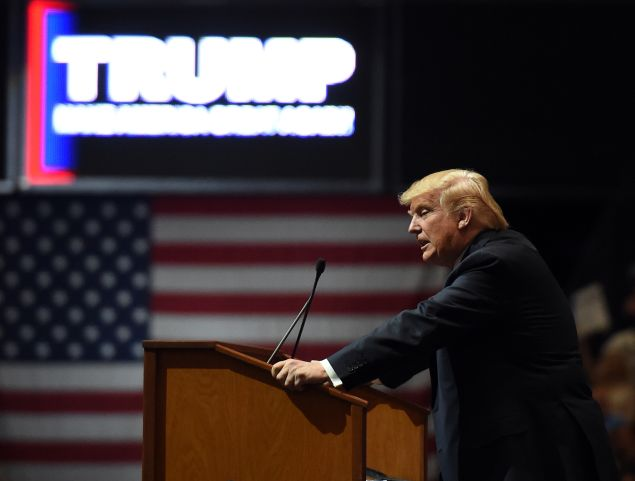 Republican presidential candidate Donald Trump speaks at a rally at the South Point Hotel & Casino on February 22, 2016 in Las Vegas, Nevada. Trump is campaigning in Nevada for the Republican presidential nomination ahead of the state's Feb. 23 Republican caucuses.