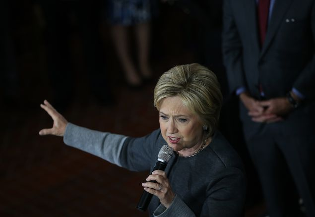 "Democratic presidential candidate former Secretary of State Hillary Clinton speaks during a ""Get Out The Vote"" rally at the Lyman & Merrie Wood Museum of Springfield History on February 29, 2016 in Springfield, Massachusetts. Hillary Clinton is campaigning in Massachusetts and Virginia ahead of Super Tuesday."