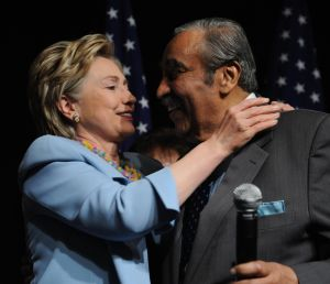 Then-Sen. Hillary Clinton with Congressman Charles Rangel in 2008.