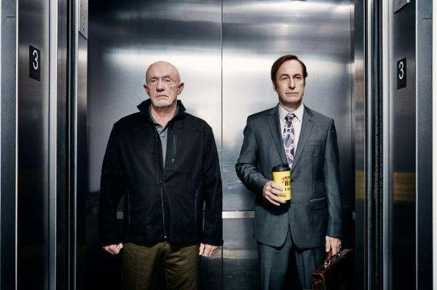 Jonathan Banks as Mike Ehrmantraut and Bob Odenkirk as Jimmy McGill in Better Call Saul.