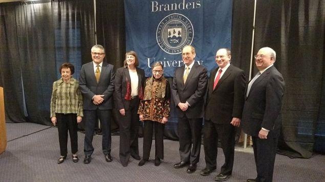Justice Ruth Bader Ginsberg, center, at Brandeis University.
