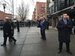 Sen. Bernie Sanders and Rev. Al Sharpton emerge from Sylvia's. (Photo: Jillian Jorgensen for Observer)