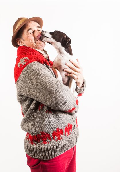 Rylance gets a smooch from his dog Apache, who has joined him in Brooklyn.