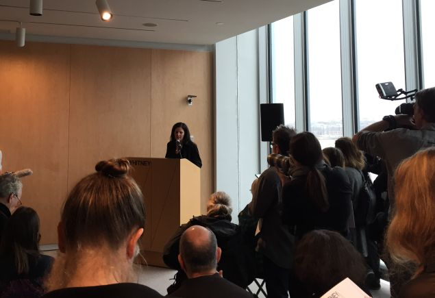 "Laura Poitras at a press conference for her Whitney Museum exhibition ""Astro Noise,"" opening February 5. (Photo: Alanna Martinez)"