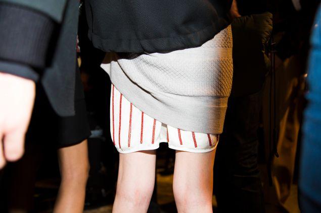 At Men's Fashion Week, Tim Coppens embellished a skirt
