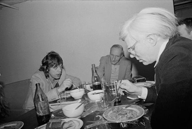Marcia Resnick Dinner Jagger, Burroughs, Warhol, 1980. Jagger, Burroughs, Warhol
