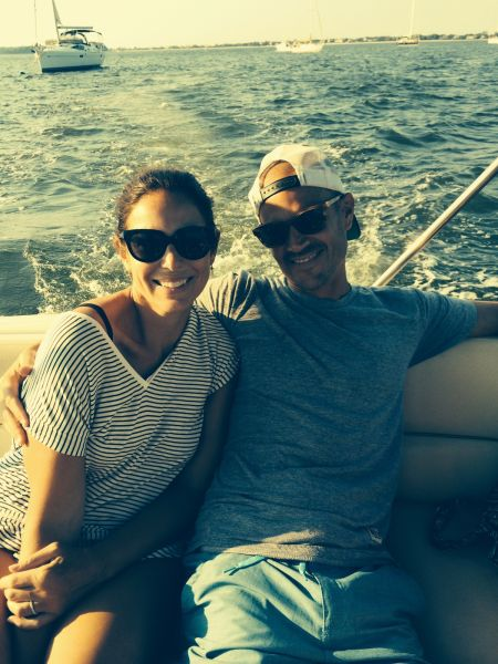 Kara and Adam on their boat off of Long Island (Photo: Courtesy).
