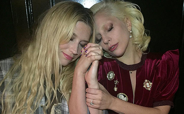 (L-r) Kesha and Lady Gaga