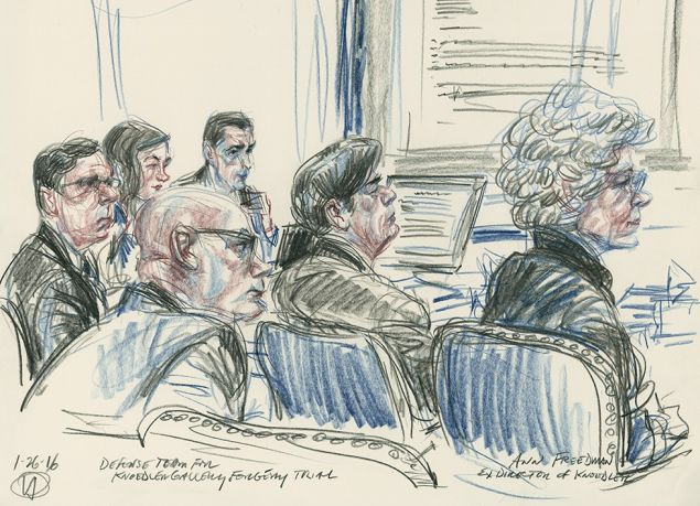 A drawing by Victor Juhasz of the defense team for the Knoedler Gallery forgery trial, with ex Knoedler president Ann Freedman. (Artwork via illustratedcourtroom.blogspot.com)