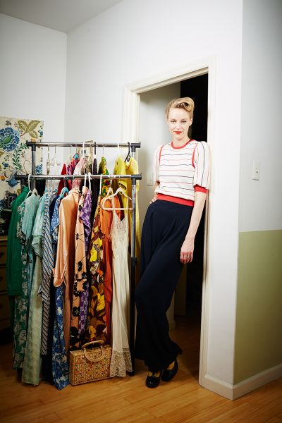 Vintage clothing blogger Laura Okita in Brooklyn apartment.