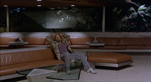 """Jeff Bridges as Jeffrey """"The Dude"""" Lebowski in the 1998 film """"The Big Lebowski,"""" in the living room of the Sheats-Goldstein residence."""