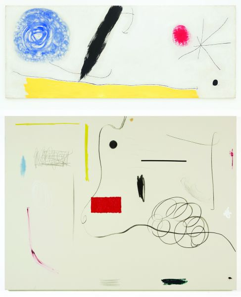 TOP: Joan Miró Bird Woken by the Cry of the Azure Flying Away Across the Breathing Plain, 1968. BOTTOM: Christian Rosa, Oh My God, 2013.