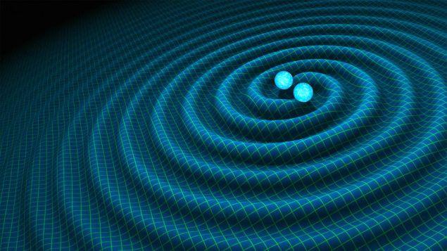 An artist's impression of gravitational waves generated by binary neutron stars. (Illustration: R. Hurt/Caltech-JPL)