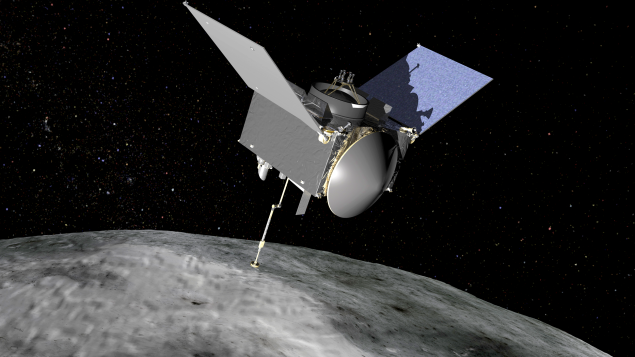 A rendering of the OSIRIS-REx spacecraft orbiting an asteroid.