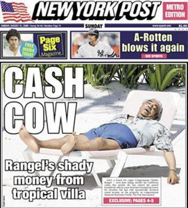 New York Post mocks Congressman Charles Rangel's scandals.