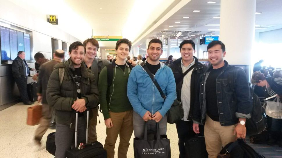NYU Hyperloop team arrive in Houston. Keith Gildea and Benjamin High on the far left.