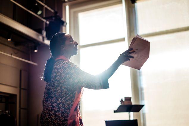 Harriett D. Foy, Rimbaud rehearsal at BAM in Brooklyn, New York.