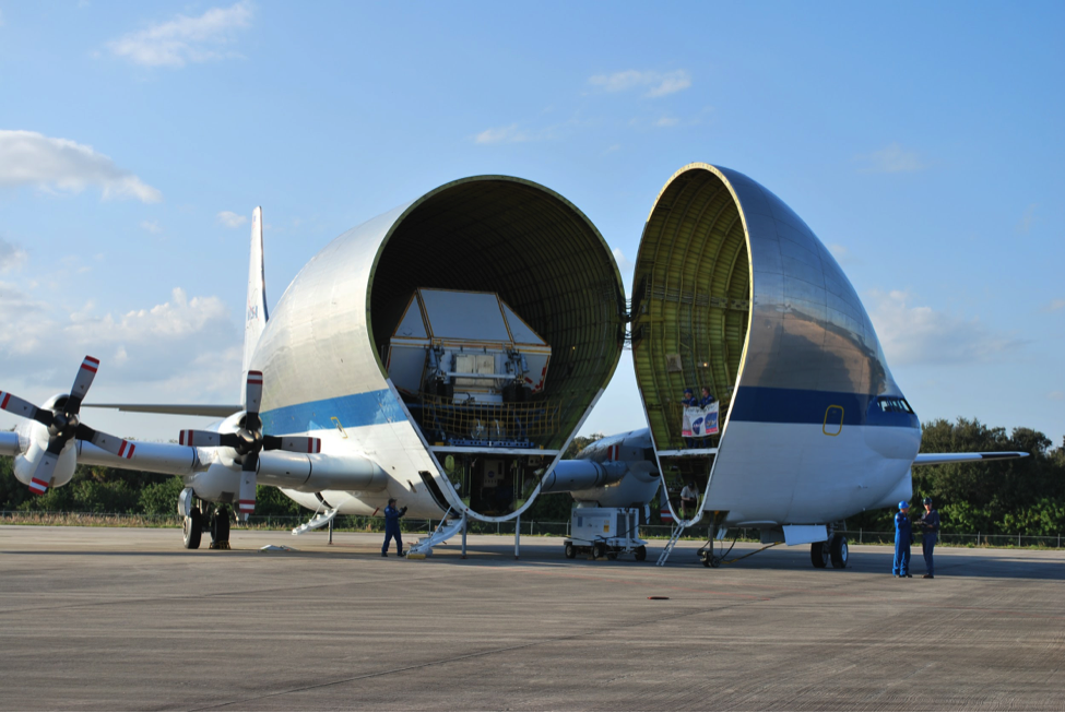 NASA's Super Guppy aircraft lands with the Orion Crew Module at Kennedy Space Center (Photo: Robin Seemangal)