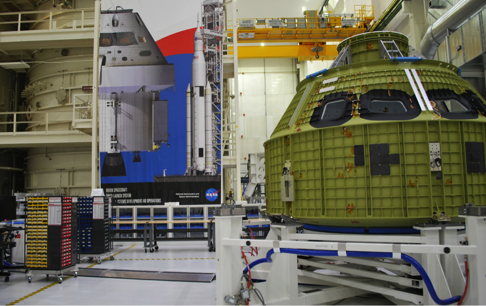 The Orion crew module pressure vessel inside the Neil Armstrong Operations & Checkout Facility (Photo: Robin Seemangal)