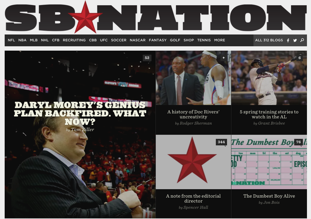 SB Nation's homepage